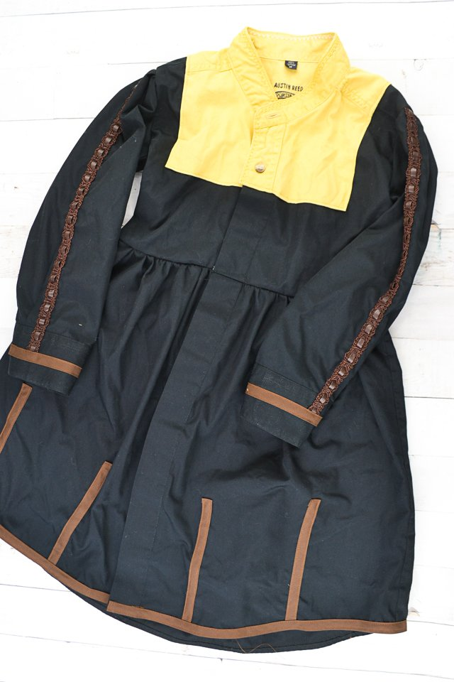 add brown trim hem and waist belt