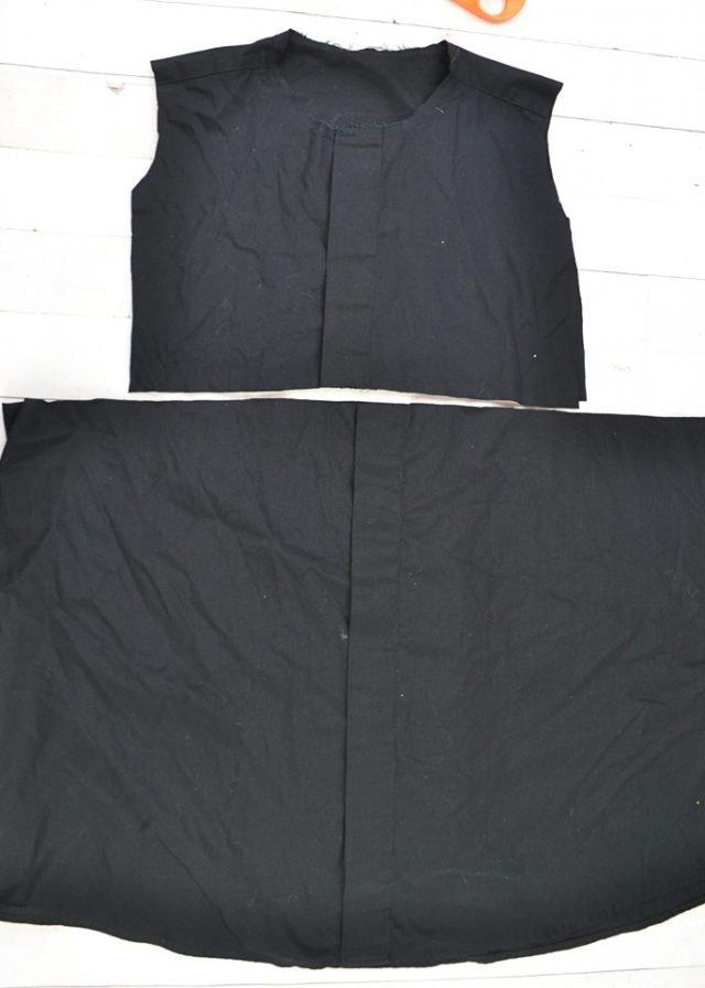 cut skirt from black shirt
