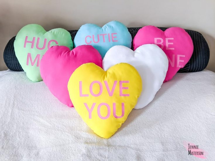 Make a Heart Pillow With a Free Pattern and Conversation Heart SVGs