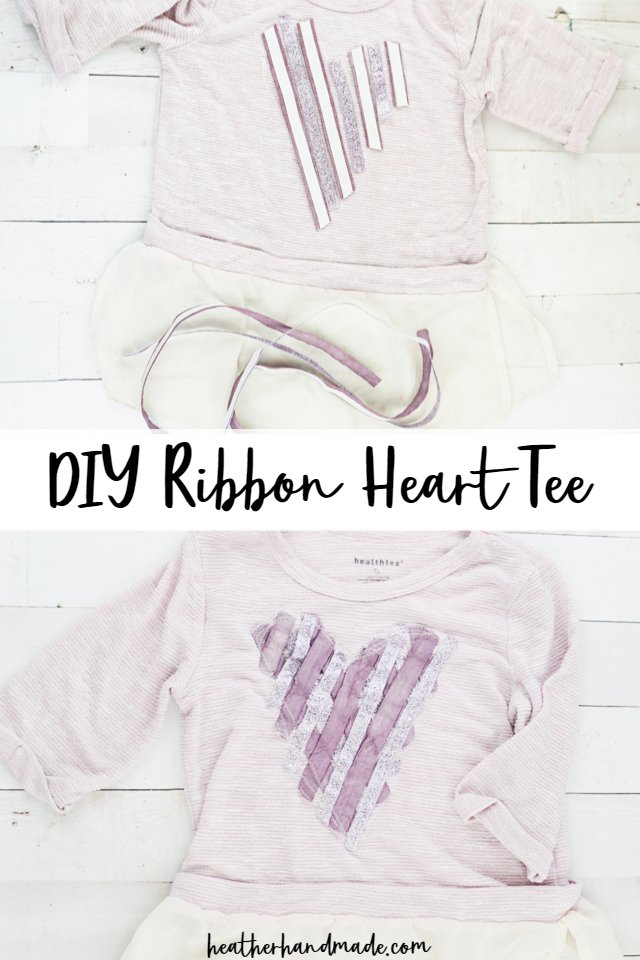 diy ribbon heart tee sew