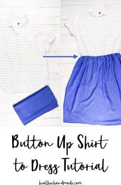 button up shirt to dress tutorial