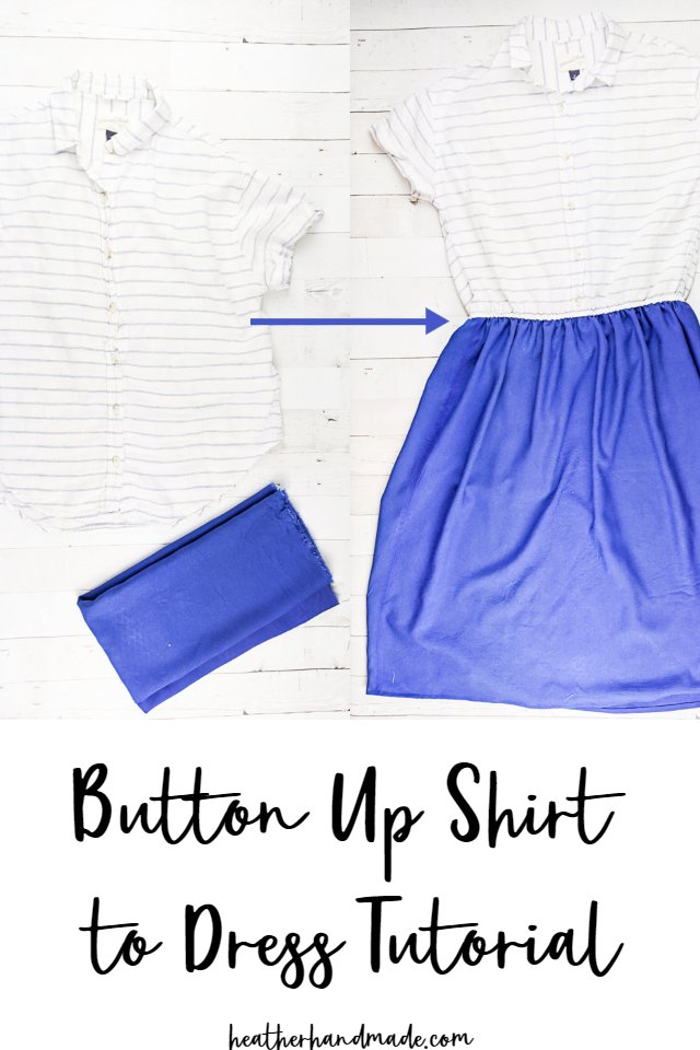 button up shirt to dress tutorial