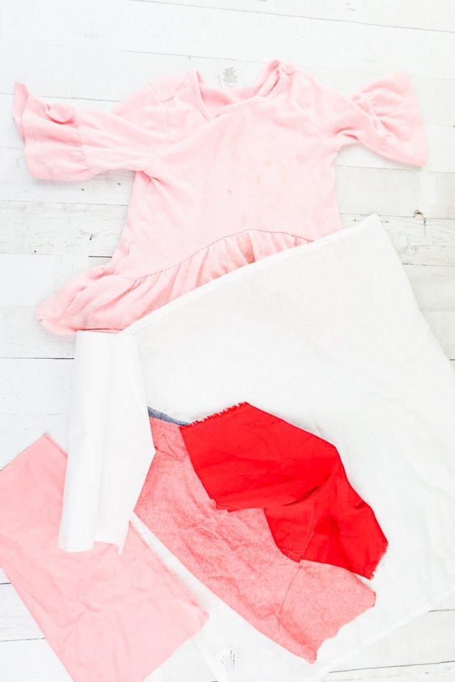 diy chenille heart t-shirt supplies