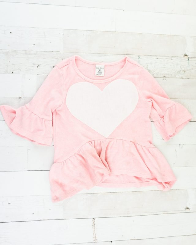 sew heart to shirt