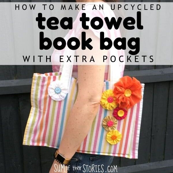 Upcycled Tea Towel Book Bag with Extra Pockets