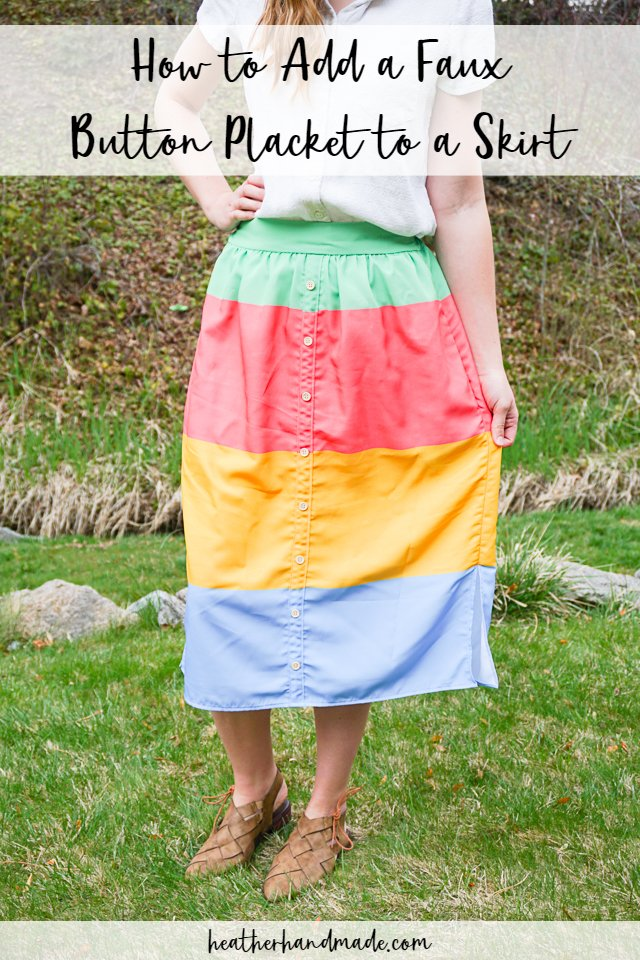 how to add a faux button placket to a skirt