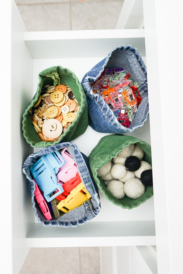 Upcycled Jeans Fabric Basket