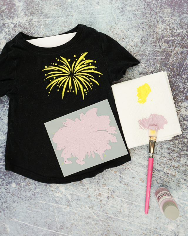 place stencil on t-shirt paint thick layer
