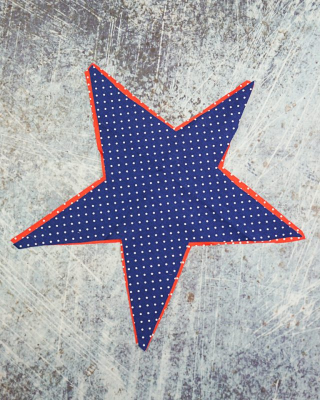place blue star over red star