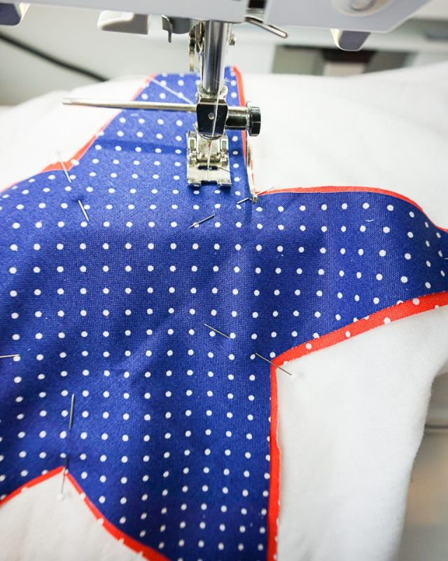 "sew around star 1/2"" from edge"