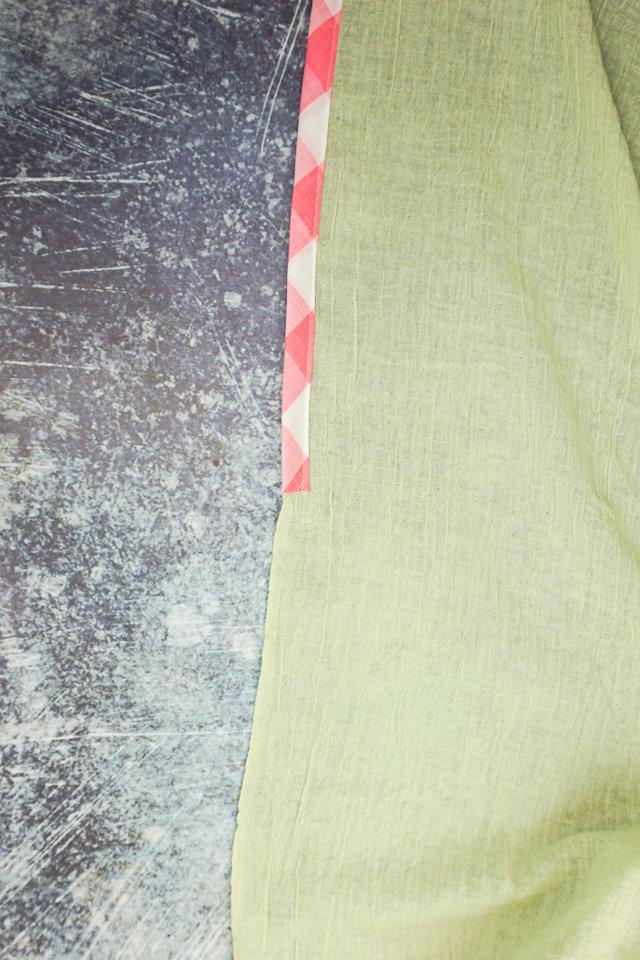 start sewing bias binding onto edges