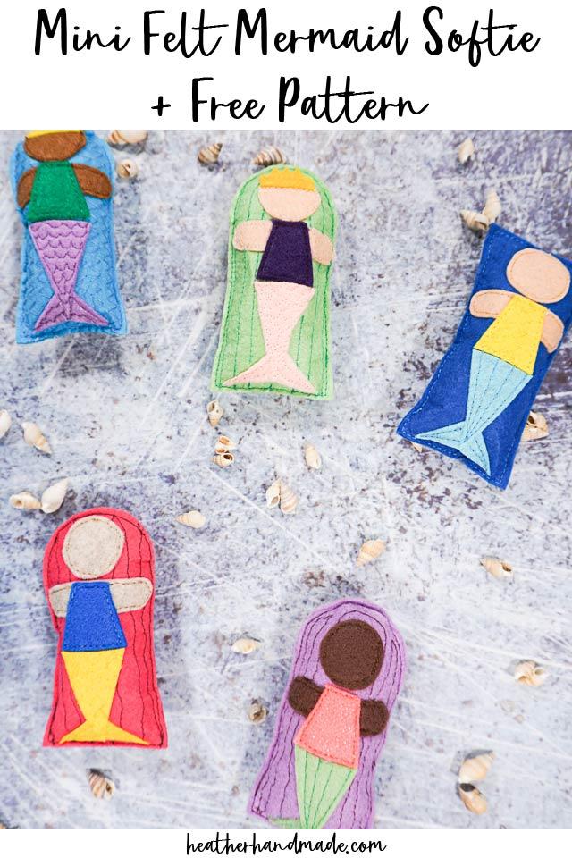 mini felt mermaid softie and free pattern