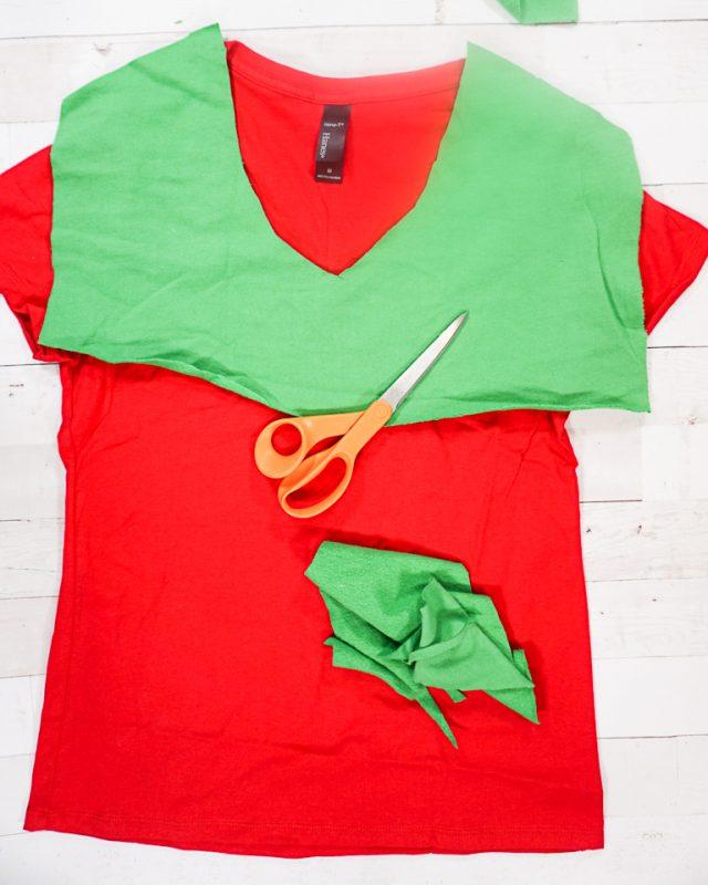 cut green collar for red t-shirt