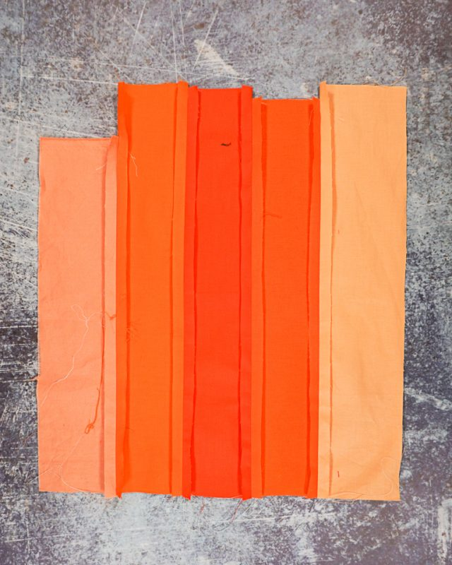 sew orange together and press open seams