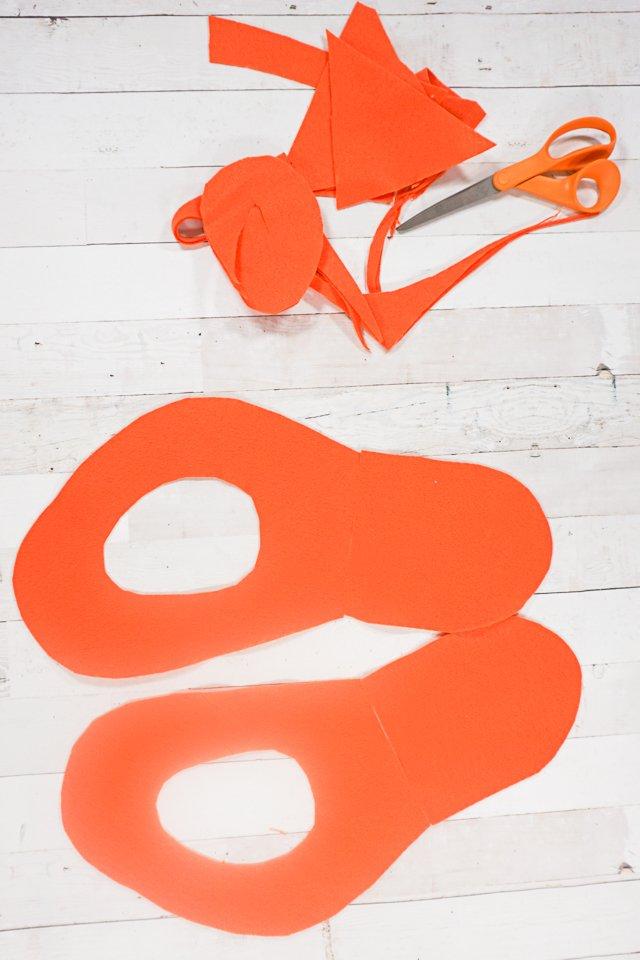 cut out orange felt scissor pieces