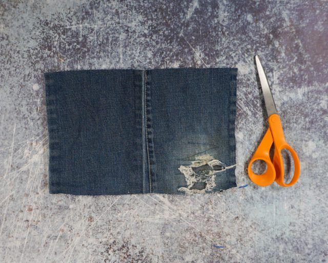 cut rectangle piece of denim