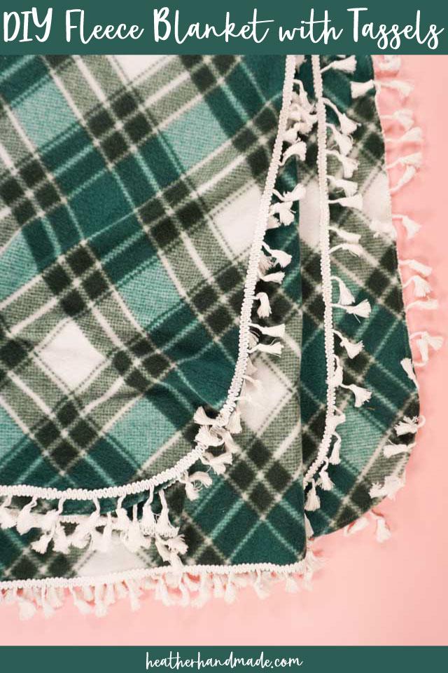 DIY fleece blanket with tassels