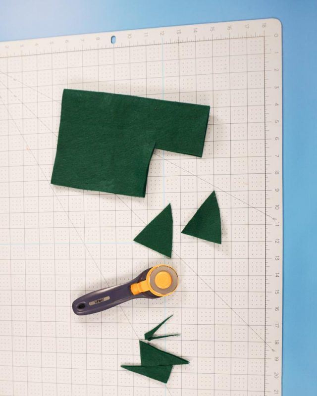 cut two green felt triangles