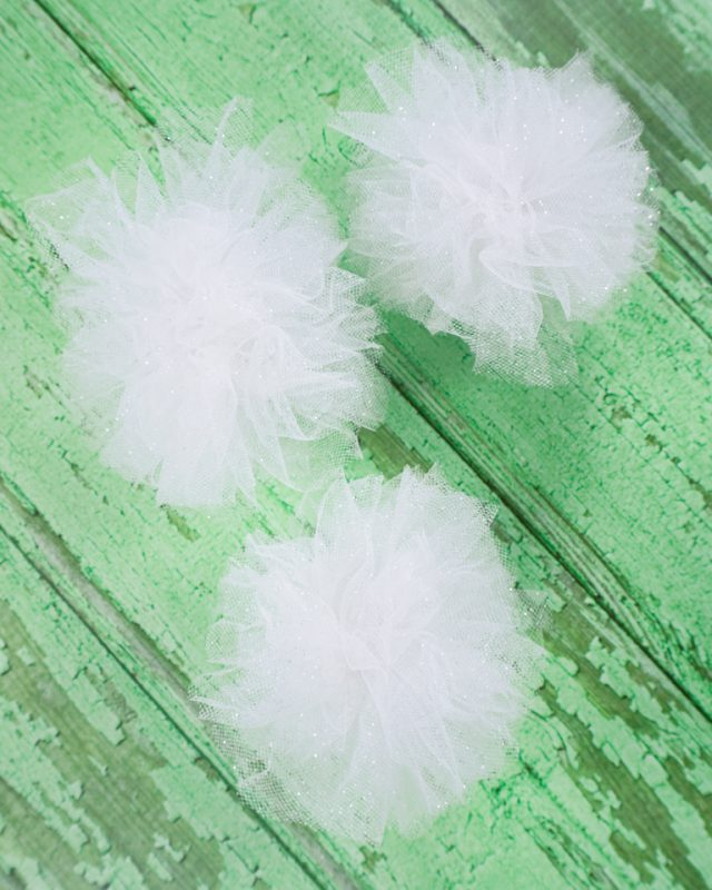 fluff, separate, and trim tulle pompoms