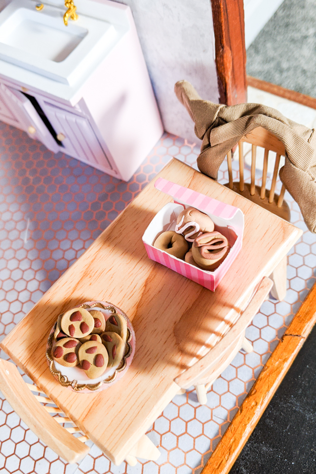 dollhouse table and food