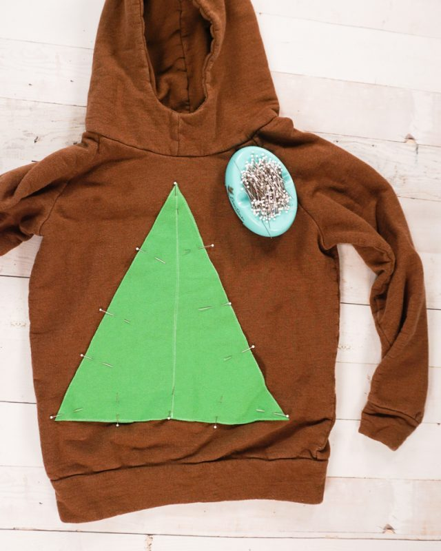 pin triangle to sweatshirt