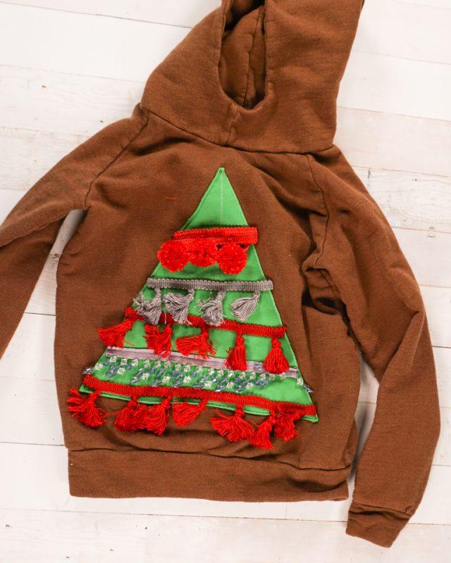 sew trim to triangle