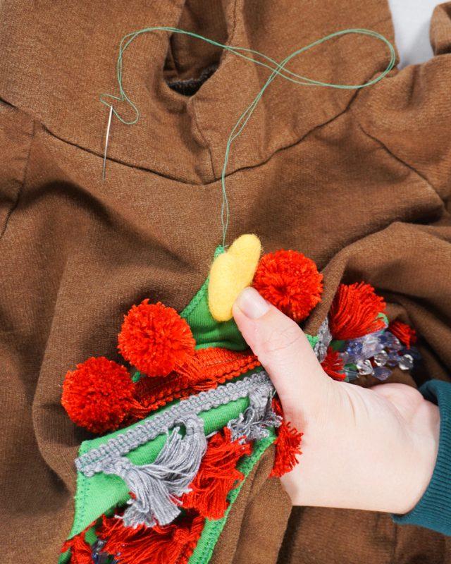sew on felt ball or button