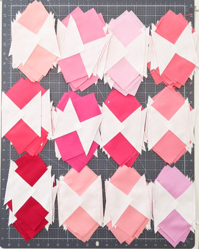 sew triangles to diagonals