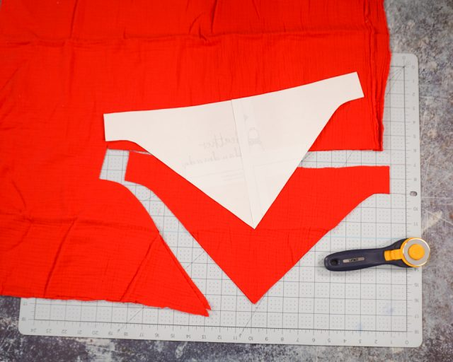 cut out two fabric bib pieces