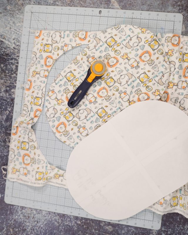 cut out two burp cloth pieces