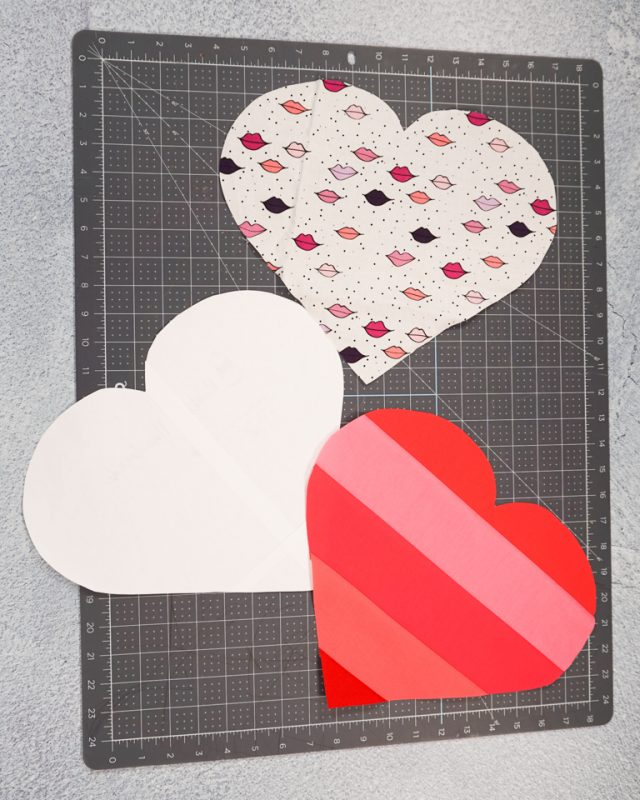cut out two heart fabric pieces