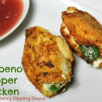 Jalapeno Popper Chicken with Bronco Berry Dipping Sauce