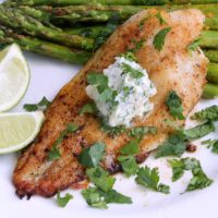 Blackened Catfish & Cilantro Lime Garlic Butter
