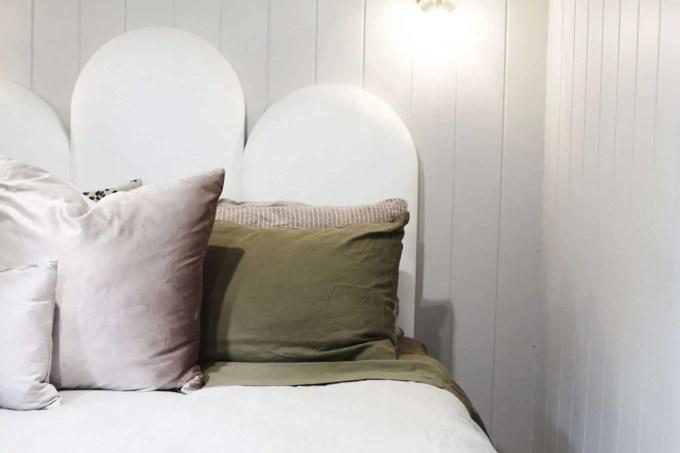 Poppy velvet bedhead Three Birds Renovations