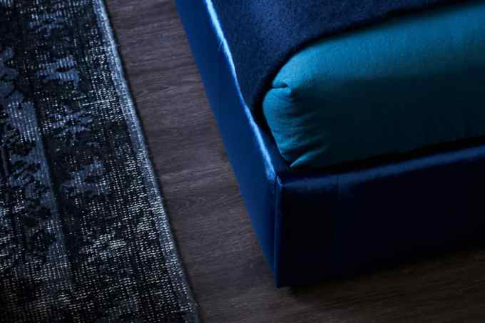 Heatherly Design Upolstered bed in Ellison Indigo Velvet