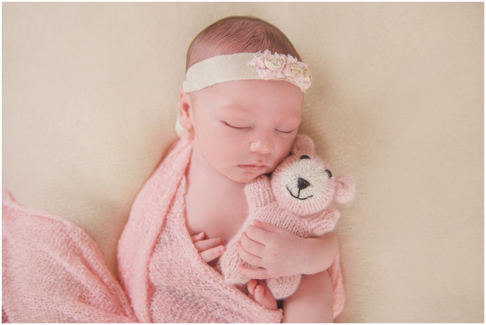 south jersey newborns, baby girl, neutral, lace, cream, pink, teddy bear