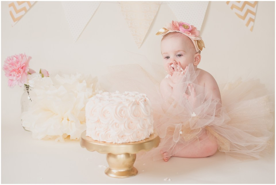 south jersey children photographer, neutral, baby girl, first birthday, ivory gold blush cake smash,