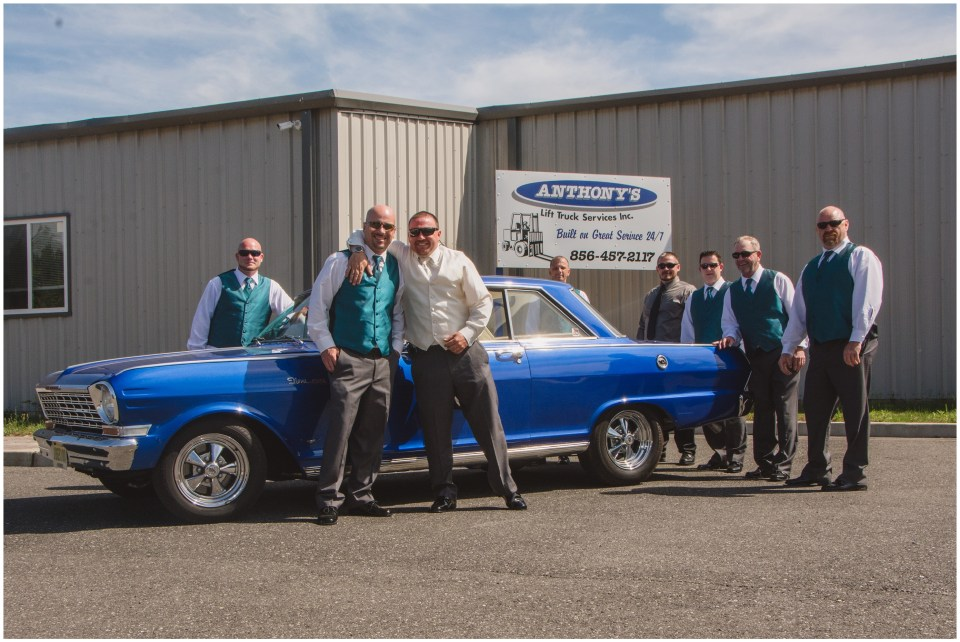 south jersey wedding photographer, getting ready groom portraits, teal groomsmen, hotrod
