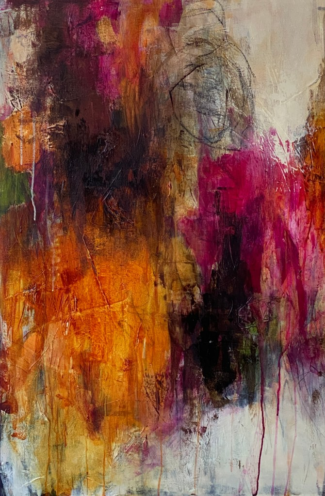 Abstract Painting And a Monarch Flew Away
