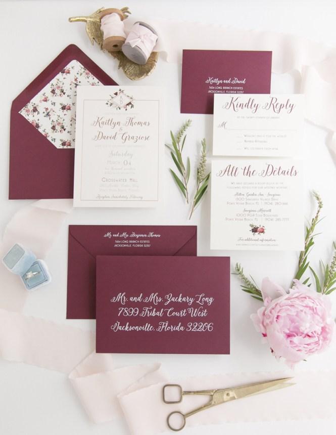Rose Gold Foil Fl Wedding Invitation