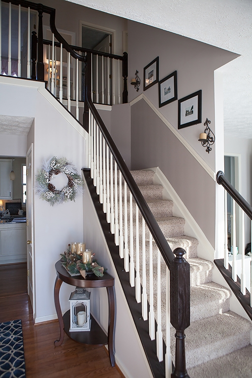 Diy How To Stain And Paint Oak Stair Banisters Heather O Steen   Oak Handrail White Spindles   Stair Square Spindle   Staircase   Switchback Stair   Goes Golden Oak Staircase   Replacement