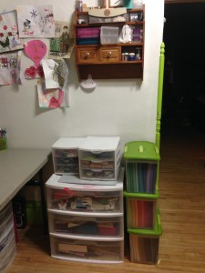 This is my daughters space, We ended up getting her a table and come containers to keep all her stuff in. You can see some of her creations in the picture.