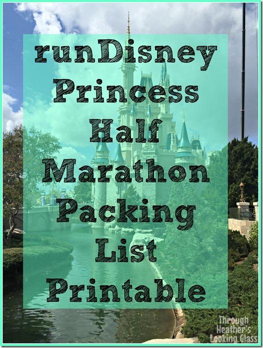 runDisney Princess packing list printable