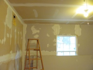 We're at the spackling stage.  Hopefully we'll be painting soon!