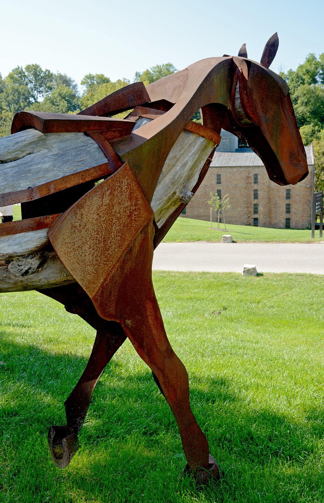 Horse sculpture outside Woodford Reserve Distillery.