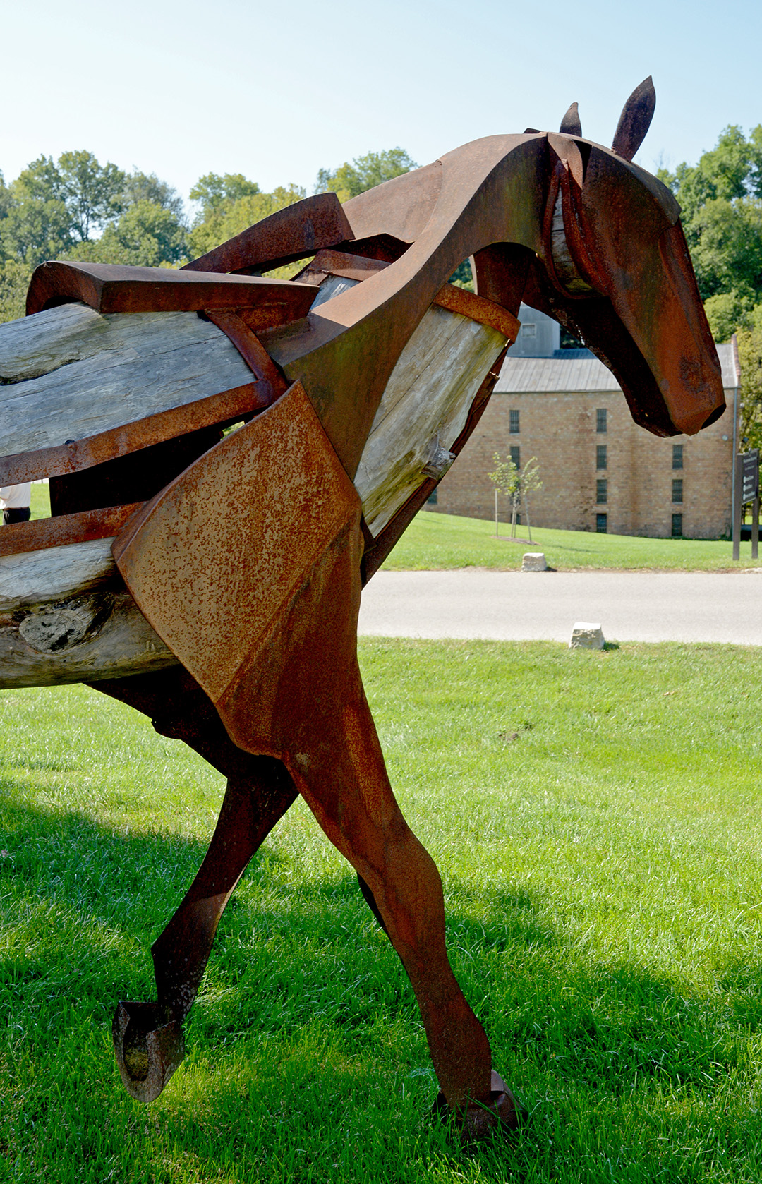 Horse sculpture outside Woodford Reserve Distillery.