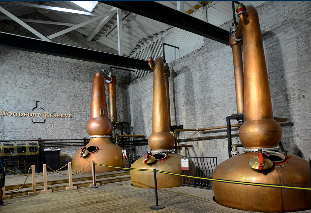 Woodford Reserve distillery famous copper pots, the only distillery to use three copper pots for distilling their bourbon