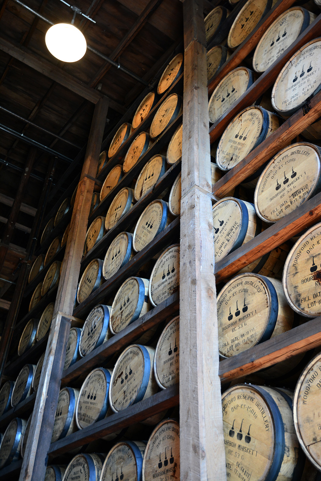 woodford reserve ages their bourbon in charred oak barrels.