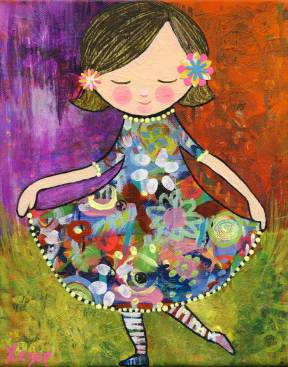 Painting Heather Carr Art girl flowers dress