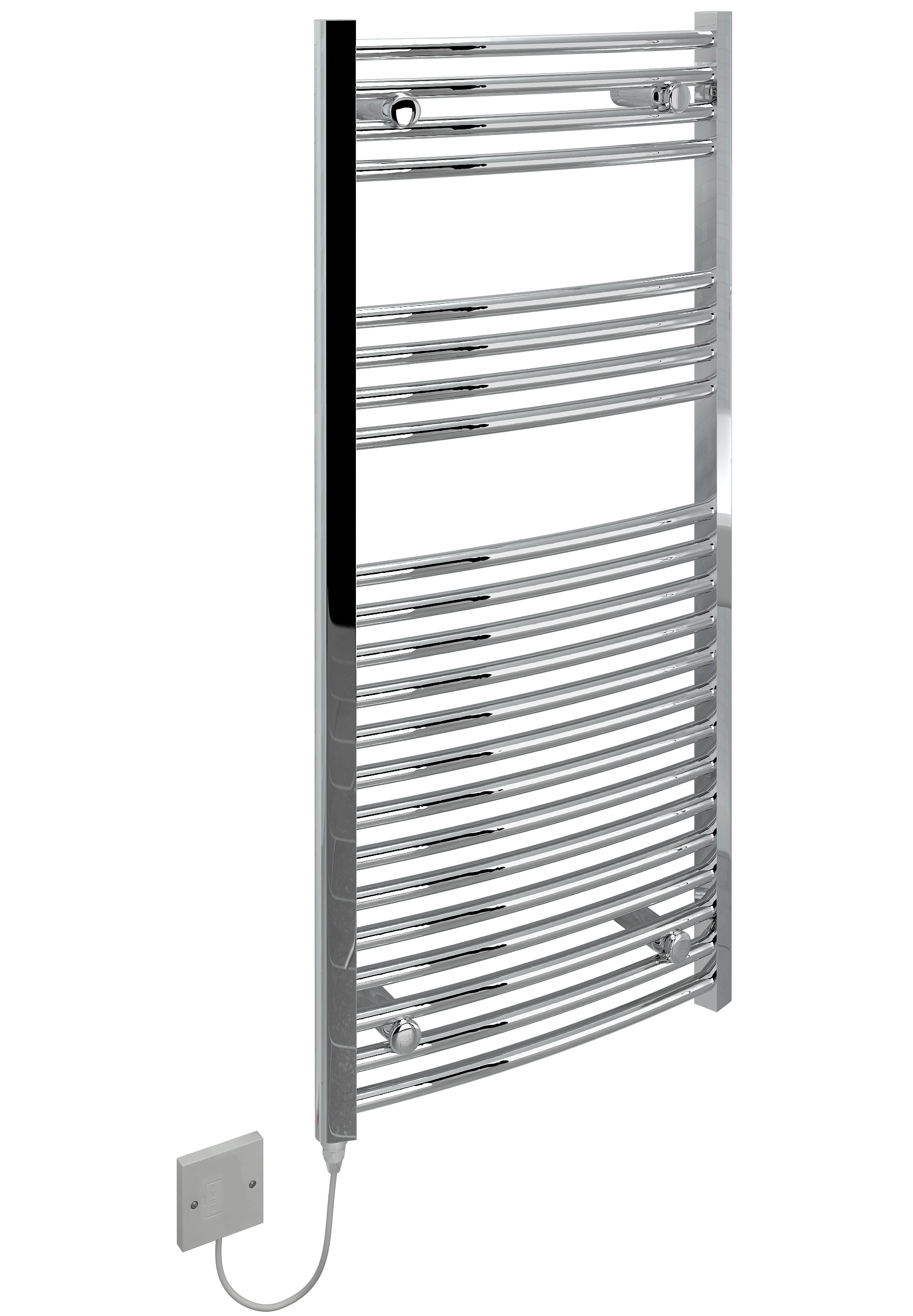 Kudox Electric Towel Rail Curved Chrome 250w 500 X Mm